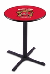 University of Maryland 36''H Black Wrinkle Finish Counter Height Pub Table with X-Base [L211B36MRYLND-FS-HOB]