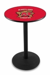 University of Maryland 36''H Black Wrinkle Finish Counter Height Pub Table with Round Base [L214B36MRYLND-FS-HOB]