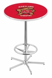 University of Maryland 42''H Chrome Finish Bar Height Pub Table with Foot Ring [L216C42MRYLND-FS-HOB]