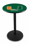 University of Miami 36''H Black Wrinkle Finish Counter Height Pub Table with Round Base [L214B36MIA-FL-FS-HOB]