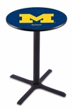 University of Michigan 36''H Black Wrinkle Finish Counter Height Pub Table with X-Base [L211B36MICHUN-FS-HOB]