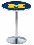 University of Michigan 36''H Black Wrinkle Finish Counter Height Pub Table with Round Base [L214B36MICHUN-FS-HOB]