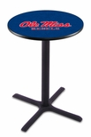 University of Mississippi 36''H Black Wrinkle Finish Counter Height Pub Table with X-Base [L211B36MSSPPU-FS-HOB]