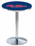 University of Mississippi 36''H Black Wrinkle Finish Counter Height Pub Table with Round Base [L214B36MSSPPU-FS-HOB]