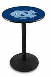 University of North Carolina 36''H Black Wrinkle Finish Counter Height Pub Table with Round Base [L214B36NORCAR-FS-HOB]