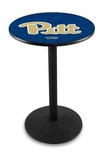 University of Pittsburgh 36''H Black Wrinkle Finish Counter Height Pub Table with Round Base [L214B36PITTSB-FS-HOB]