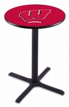 University of Wisconsin 36''H Black Wrinkle Finish Counter Height Pub Table with X-Base [L211B36WISC-W-FS-HOB]