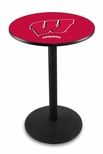 University of Wisconsin 36''H Black Wrinkle Finish Counter Height Pub Table with Round Base [L214B36WISC-W-FS-HOB]