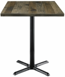 Urban Loft Collection 30'' Square Vintage Wood Top with Black Bistro Height Table Base - Barnwood [T30SQ-B2015-38-LFT-BN-IFK]