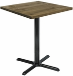Urban Loft Collection 30'' Square Vintage Wood Top with Black Bistro Height Table Base - Natural [T30SQ-B2015-38-LFT-NA-IFK]