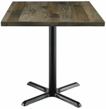 Urban Loft Collection 30'' Square Vintage Wood Top with Black Cafe Height Table Base - Barnwood [T30SQ-B2015-LFT-BN-IFK]