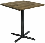 Urban Loft Collection 36'' Square Vintage Wood Top with Black Bistro Height Table Base - Natural [T36SQ-B2025-38-LFT-NA-IFK]