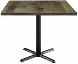 Urban Loft Collection 42'' Square Vintage Wood Top with Black Cafe Height Table Base - Barnwood [T42SQ-B2025-LFT-BN-IFK]