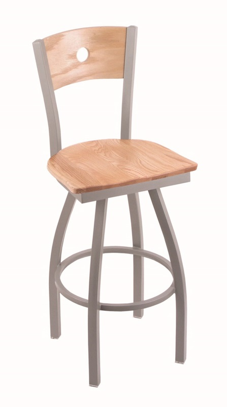 Voltaire 25 39 39 Anodized Nickel Finish Swivel Counter Height Stool With