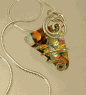 Silver and Dichroic Art Glass Pendants