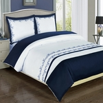 Amalia Navy Embroidered Duvet Cover Set