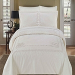 Athena White Embroidered Duvet cover Set