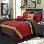 Atlantis Red Multi - Piece Bedding Set