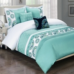 Chelsea Aqua 5-Piece Duvet Cover Set 100% Cotton