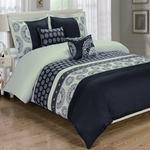 Chelsea Black 5-Piece Duvet Cover Set 100% Cotton