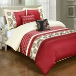 Chelsea Red 5-Piece Duvet Cover Set 100% Cotton