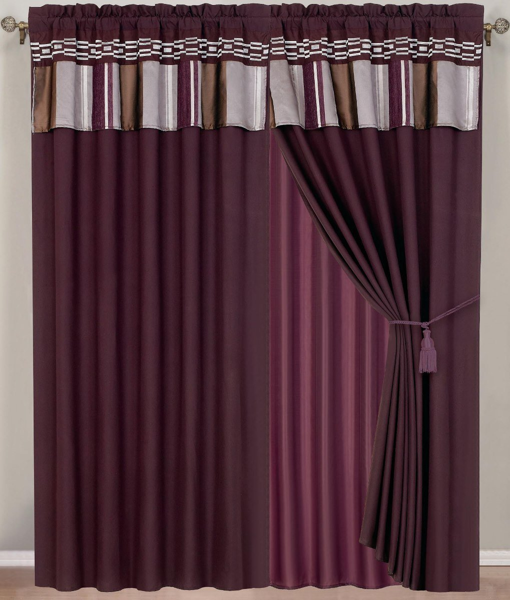 "Claudia Purple Curtains 2 x Panels 60x84""ea. with Valance"