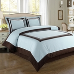 Hotel Blue/Chocolate Egyptian Cotton Duvet Cover Set