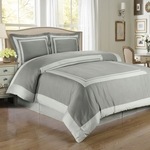 Hotel Gray/Light-Gray Egyptian Cotton Duvet Cover Set