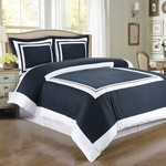 Hotel Navy/White Egyptian Cotton Duvet Cover Set