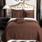 Chocolate Checkered Quilted Wrinkle Free Coverlets