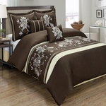 Myra Chocolate 5-Piece Duvet Cover Set 100% Cotton