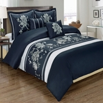Myra Navy 5-Piece Duvet Cover Set 100% Cotton