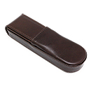 Aston Leather Double Pen Case - Hard, Brown