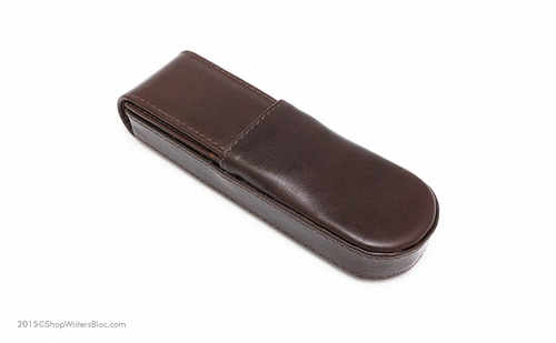 Aston Leather Double Pen Case - Hard, Brown - Click to enlarge