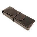 Aston Leather Pen Box for 2 Pens - Brown