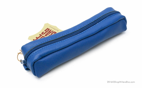 Clairefontaine Basics Leather Pencil Case - Small Oval, Blue - Click to enlarge