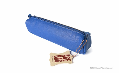 Clairefontaine Basics Leather Pencil Case - Square, Blue - Click to enlarge