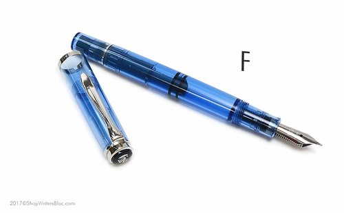 Pelikan Classic Special Edition M205 Demonstrator Fountain Pen - Blue, Fine Nib - Click to enlarge