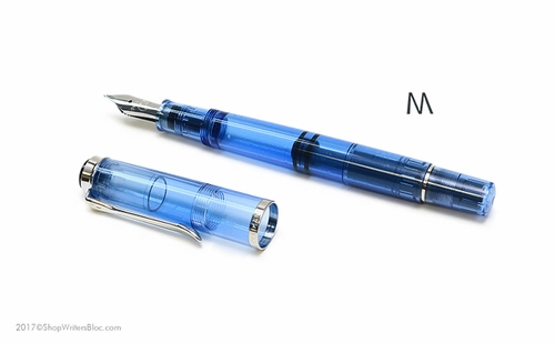 Pelikan Classic Special Edition M205 Demonstrator Fountain Pen - Blue, Medium Nib - Click to enlarge