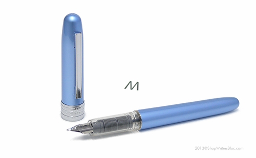 Platinum Plaisir Fountain Pen - Frosty Blue, Medium Nib - Click to enlarge