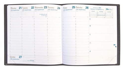 Quo Vadis Executive Desk Weekly Planner 2017 - Texas Cover, Blue