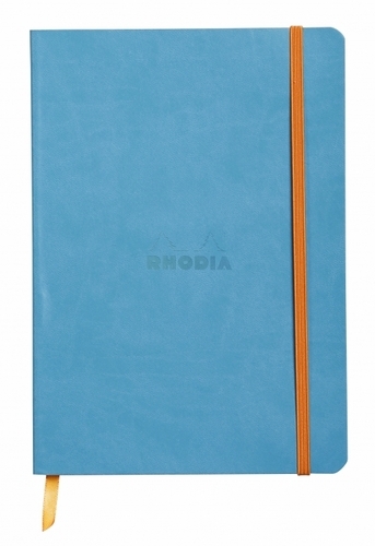 Rhodiarama Soft Cover Notebook - Medium, Turquoise, Lined - Click to enlarge