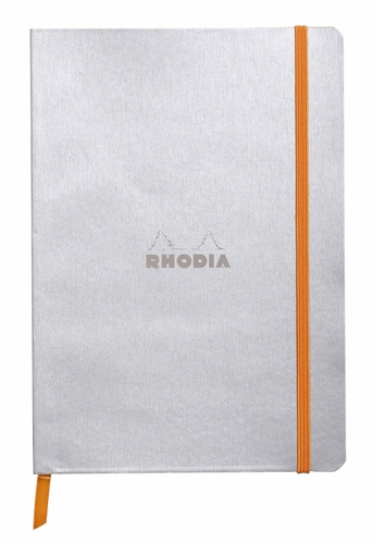 Rhodiarama Soft Cover Notebook - Medium, Silver, Lined - Click to enlarge