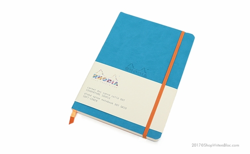 Rhodiarama Soft Cover Notebook - Medium, Turquoise, Dot Grid - Click to enlarge