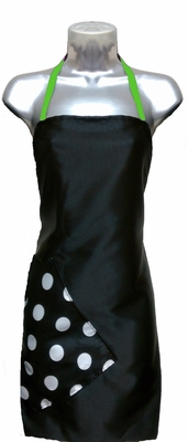 Salon Apron Black-Big Dot-Apple