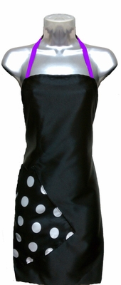 Salon Apron Black-Big Dot-Purple