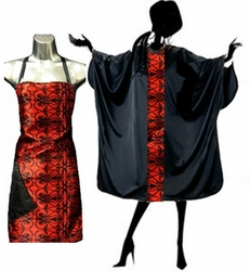 Red Scroll Stylist Apron and Salon Cape Set<font size=2.5>