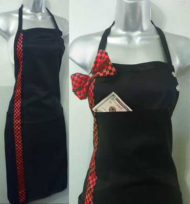 Salon Apron Red Checkerboard for Hair And Nails