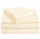 2 Line Embroidered Sheet Set  (Beige / Ivory)