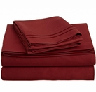 2 Line Embroidered Sheet Set  (Burgundy)
